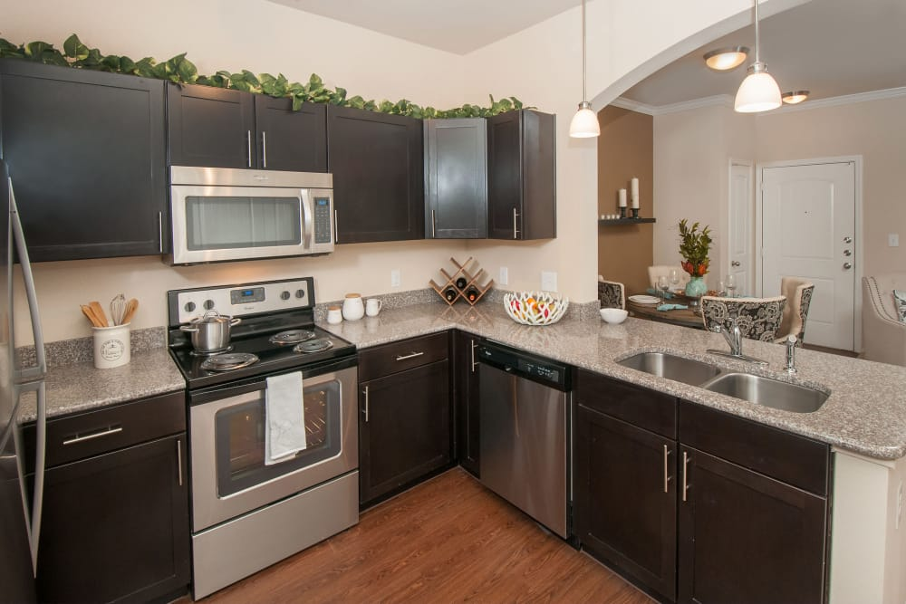 Bright kitchen at Carrington Oaks in Buda, Texas