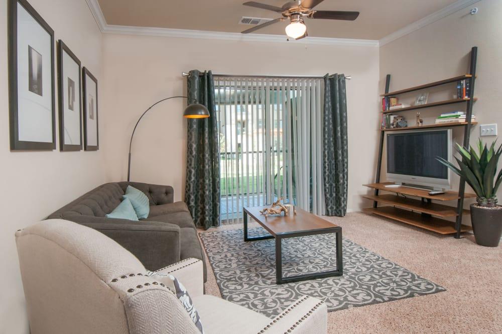 Model living room at Carrington Oaks in Buda, Texas