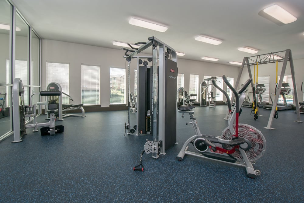 Fully equipped fitness center at Carrington Oaks in Buda, Texas