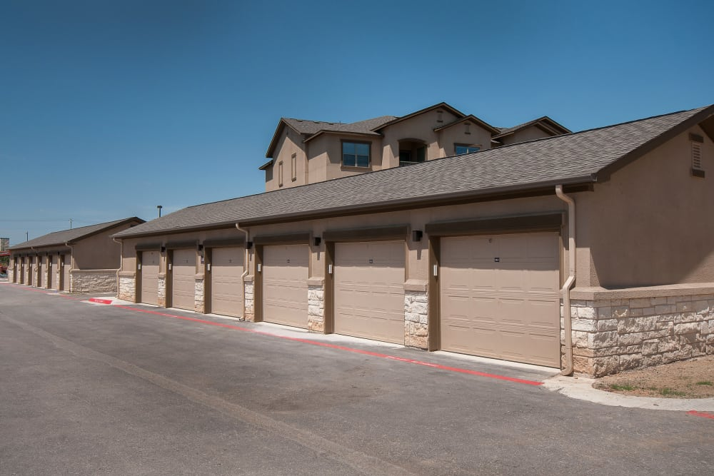 Apartment garages at Carrington Oaks in Buda, Texas