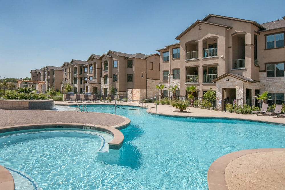 Additional view of the pool at Carrington Oaks in Buda, Texas