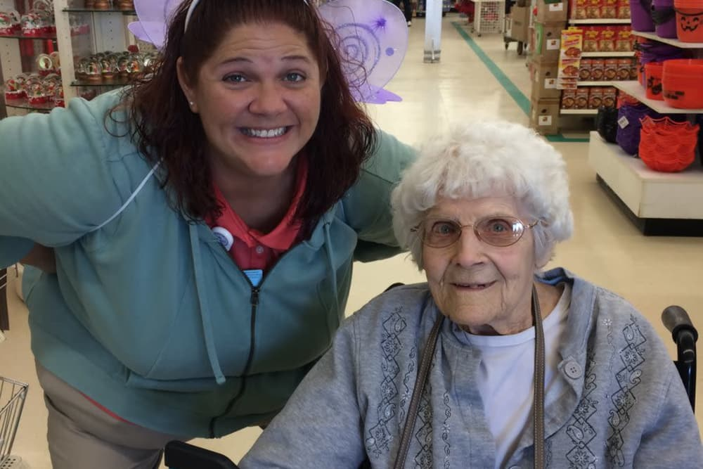 A resident and caretaker from West River Health Campus in Evansville, Indiana shopping