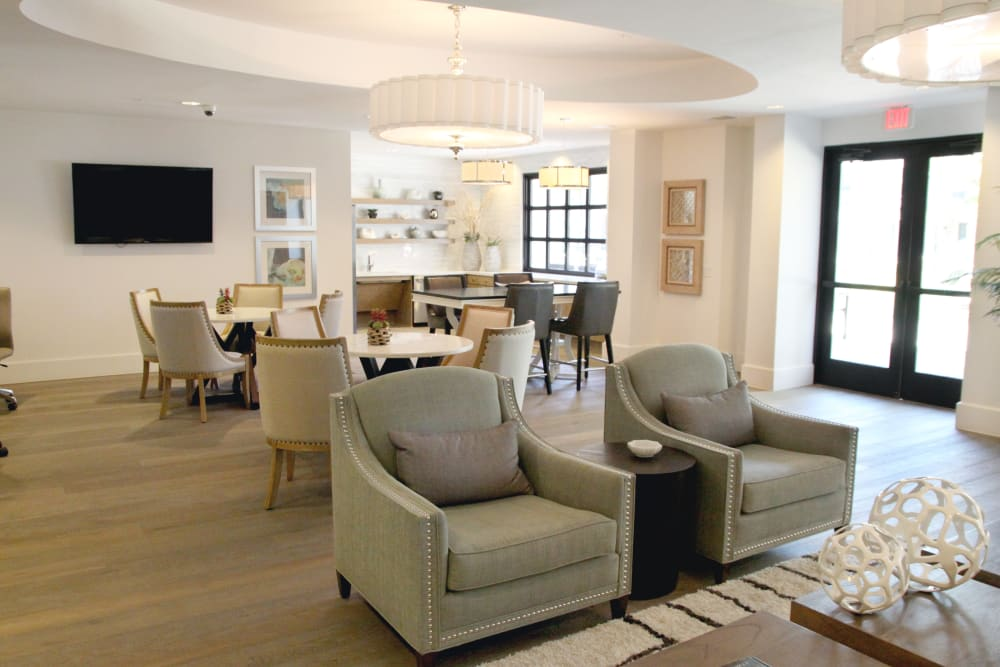 Clubhouse lounge at Axis at Wycliff in Dallas, Texas