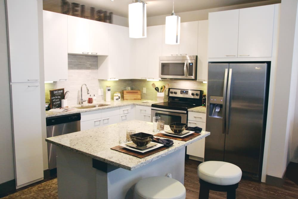 Spacious kitchen at Axis at Wycliff in Dallas, Texas