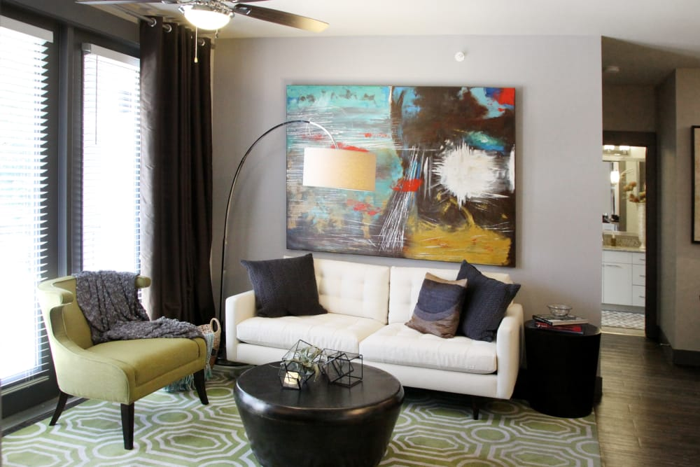 Model living room at Axis at Wycliff in Dallas, Texas