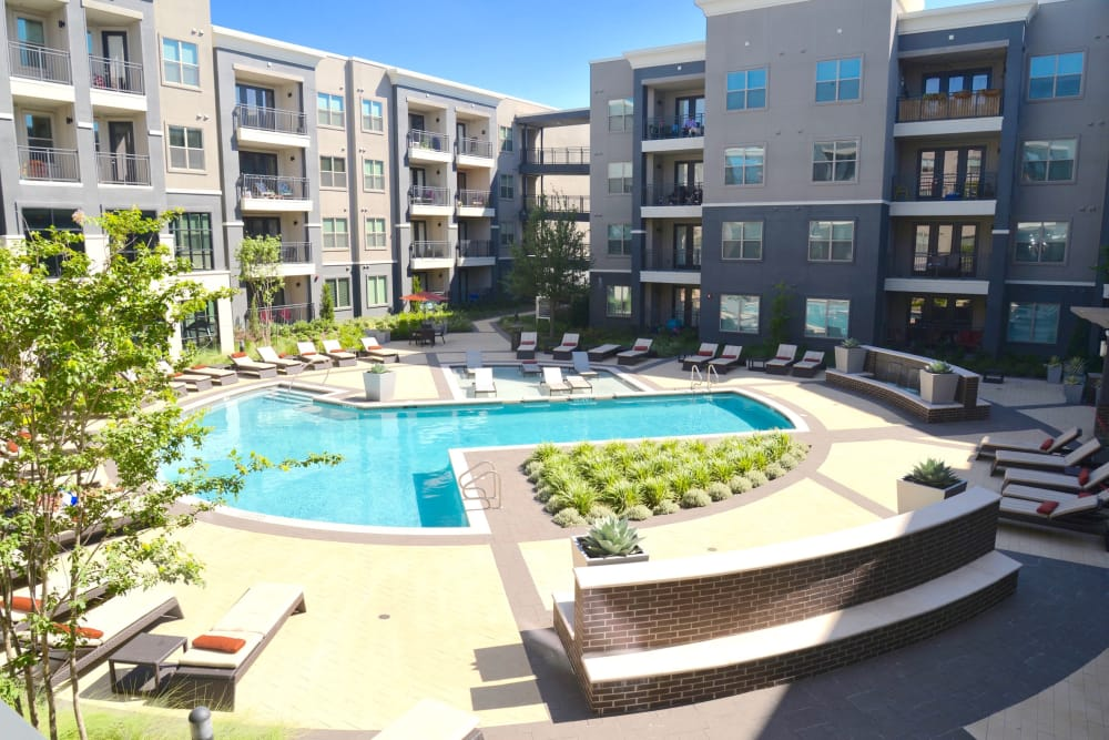 Sparkling pool at Axis at Wycliff in Dallas, Texas