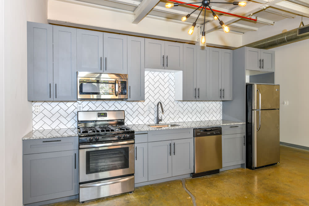 Lovely model kitchen at Canton Mill Lofts in Canton, Georgia