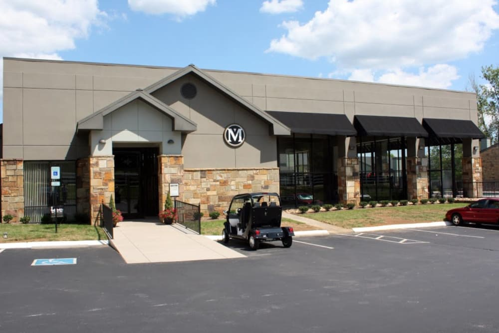 Beautiful front entrance at Goldelm at Metropolitan in Knoxville, Tennessee