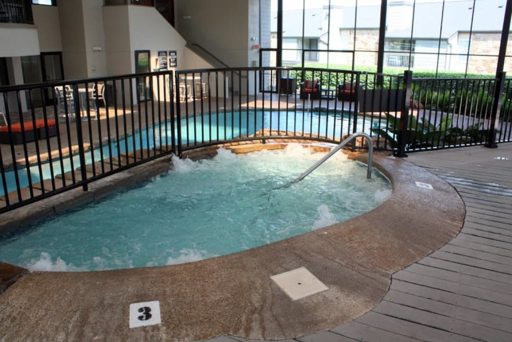 A large indoor hot tub at Goldelm at Metropolitan in Knoxville, Tennessee