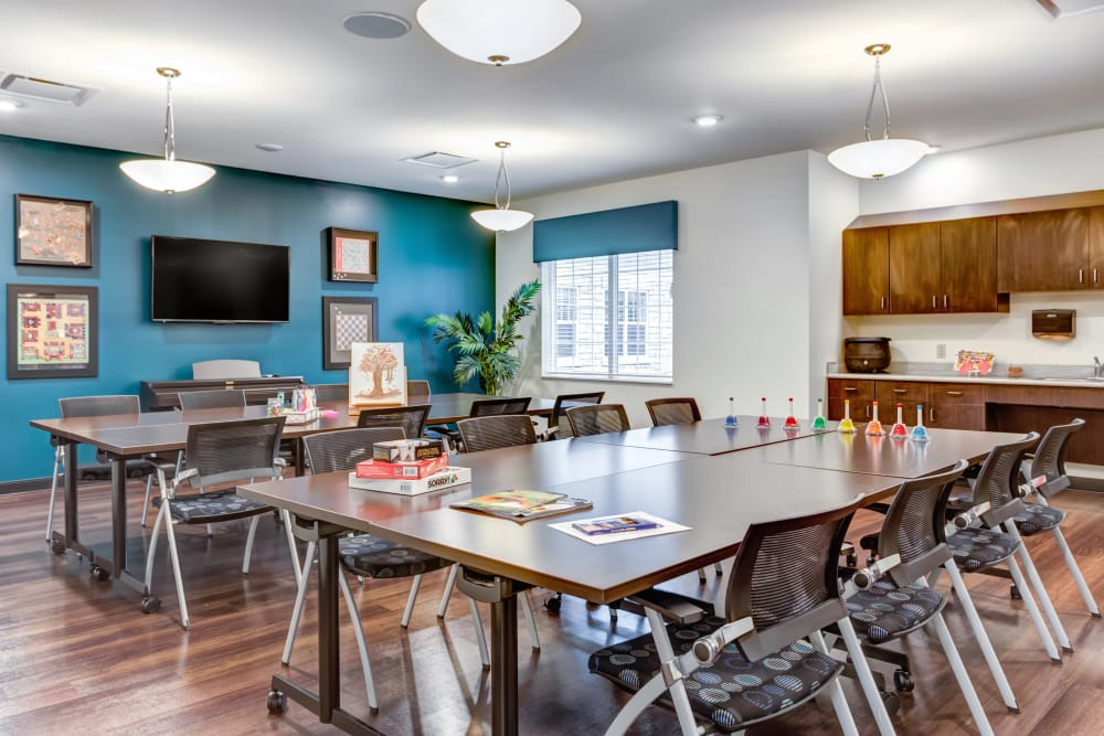 A game room for residents at The Springs at Stony Brook in Louisville, Kentucky