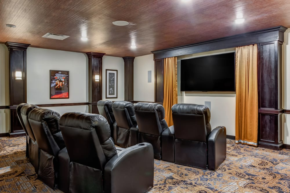 The community movie theater for residents at The Springs at Stony Brook in Louisville, Kentucky