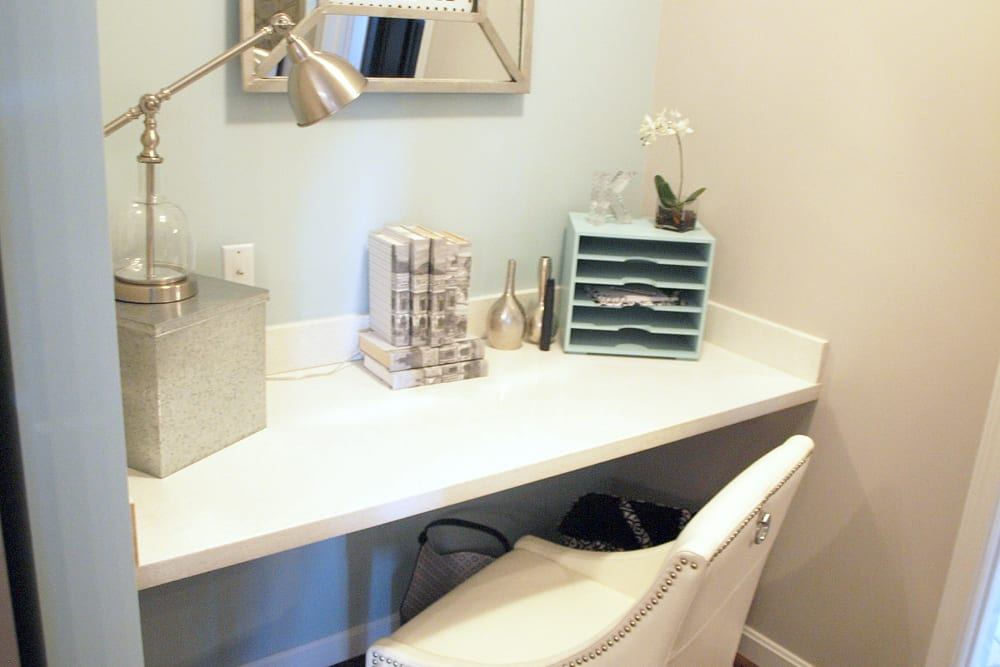 Personal work space in an apartment at Greyson on 27 in Nicholasville, Kentucky