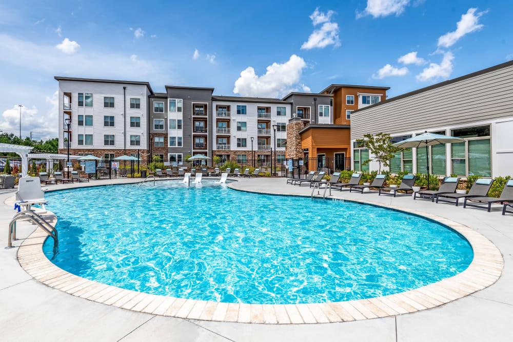 Sparkling blue swimming pool at Flats At 540 in Apex, North Carolina
