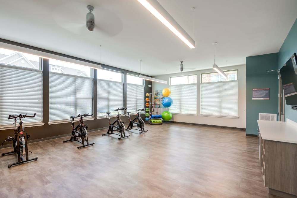 Fully equipped fitness area at Flats At 540 in Apex, North Carolina