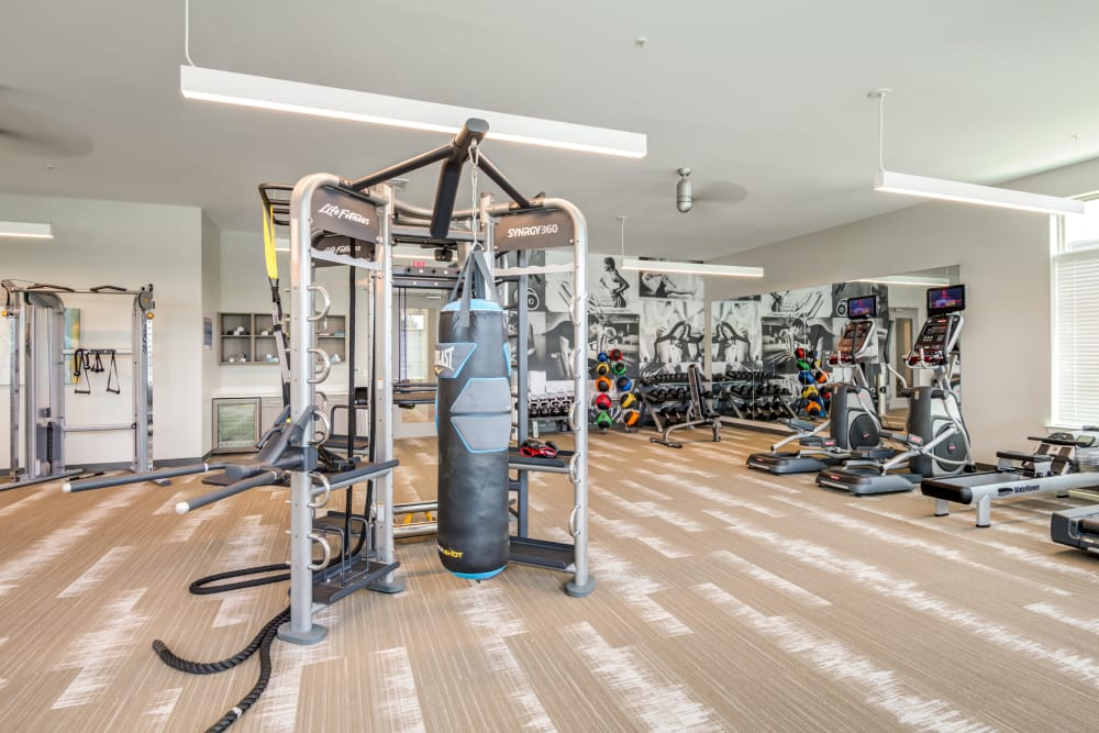 Full fitness center at Flats At 540 in Apex, North Carolina