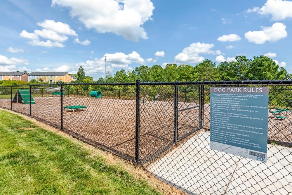Expansive dog park at Flats At 540 in Apex, North Carolina