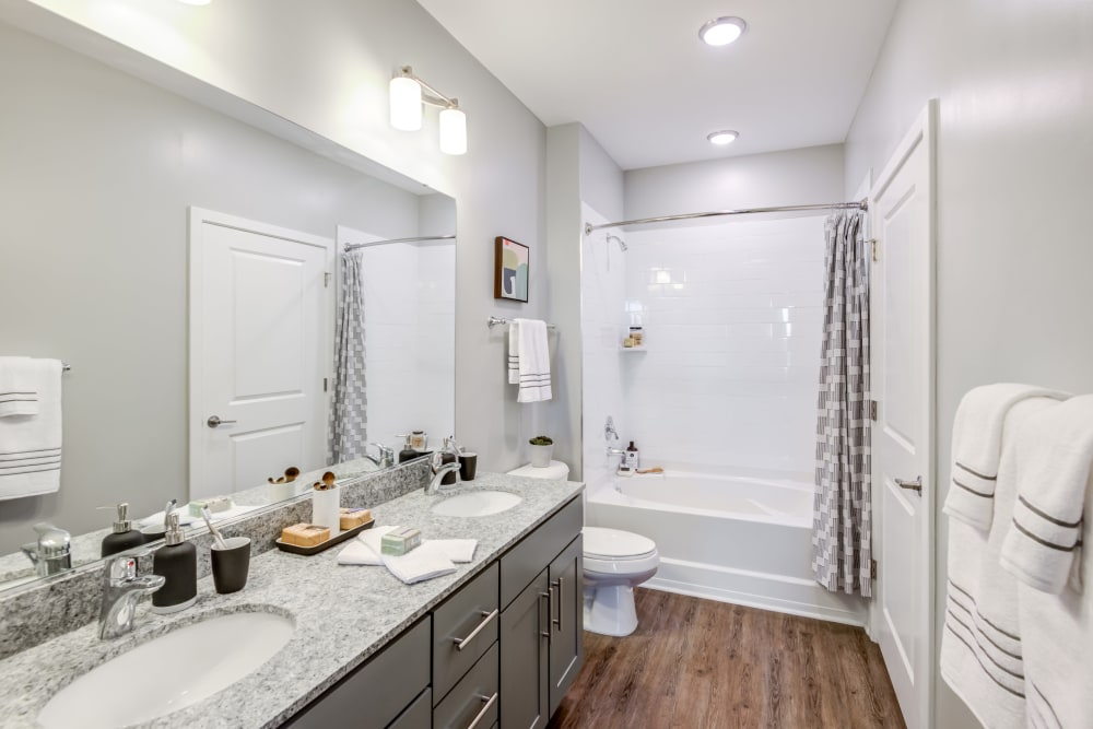 Full bathroom with ample lighting at Flats At 540 in Apex, North Carolina