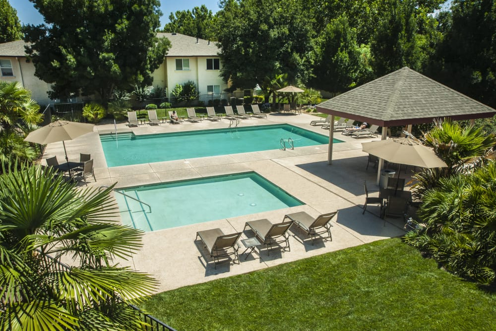 Sparkling in-ground pool and spa at Mission Ranch Apartments in Chico, California