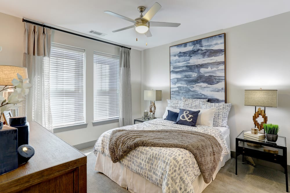 Luxury bedroom at The Sawyer at One Bellevue Place in Nashville, Tennessee