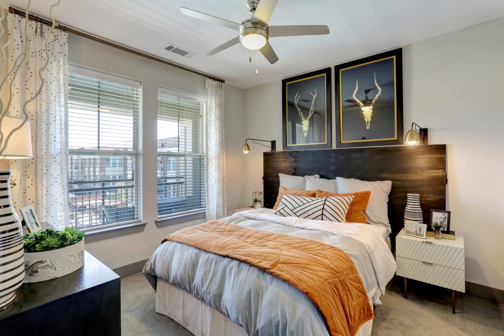 Bright master bedroom at The Sawyer at One Bellevue Place in Nashville, Tennessee