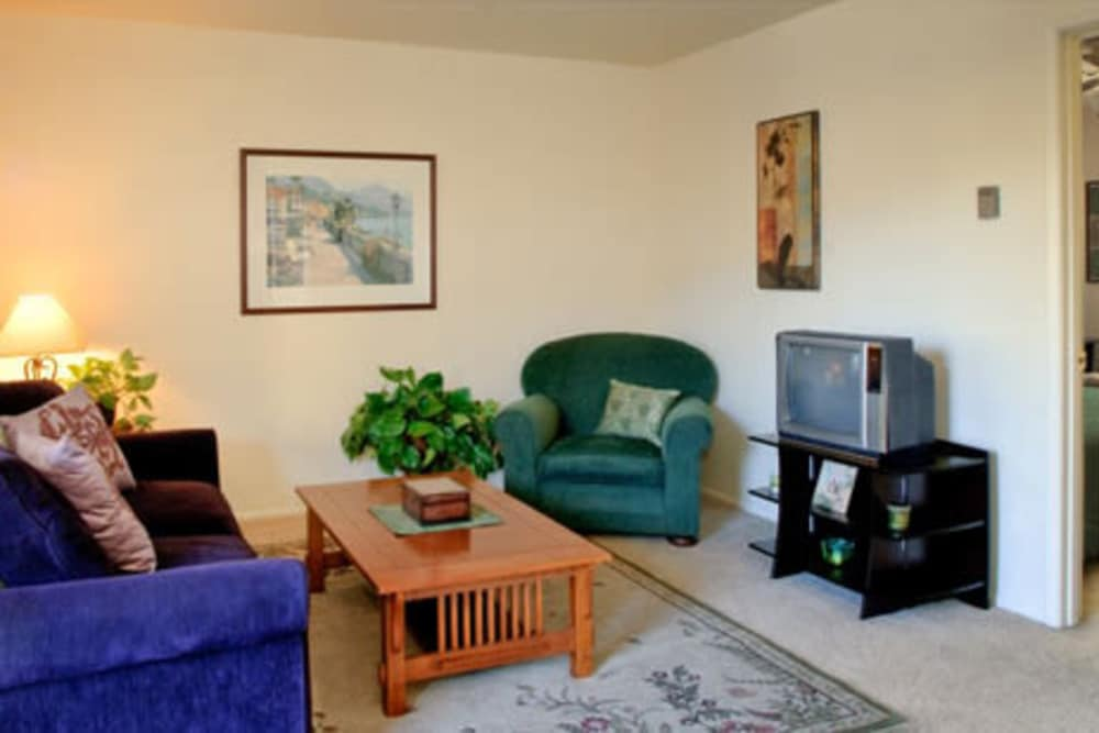 Living room at Ash Street Apartments in Chico, California