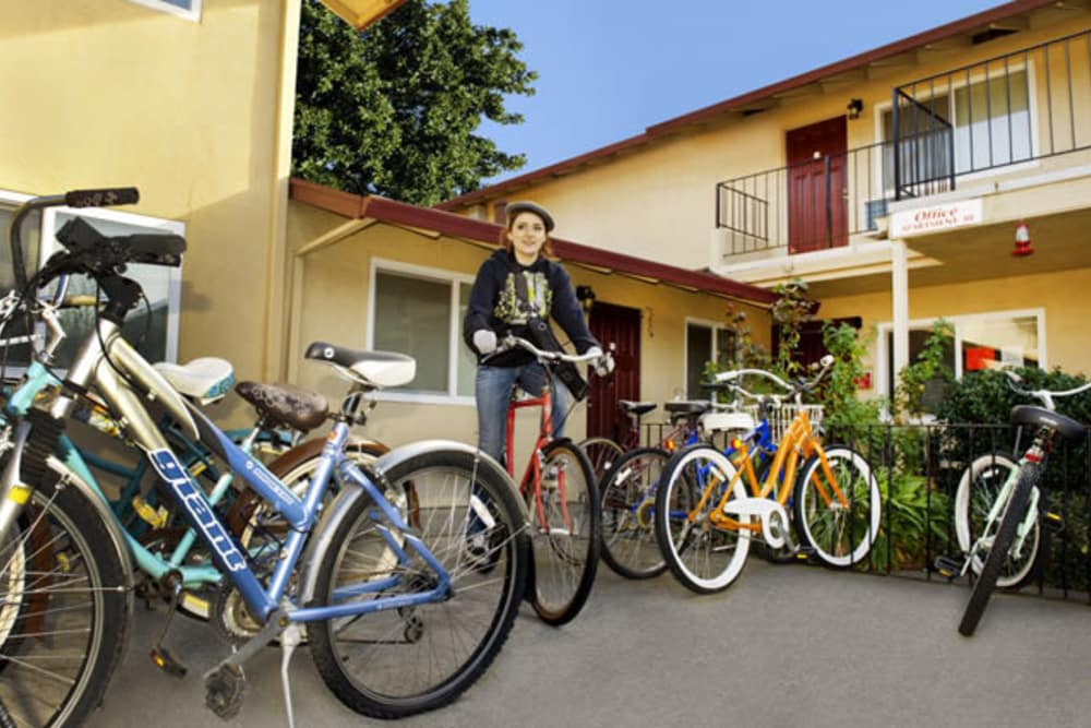 Ample bike parking at 7th Street Manor in Chico, California