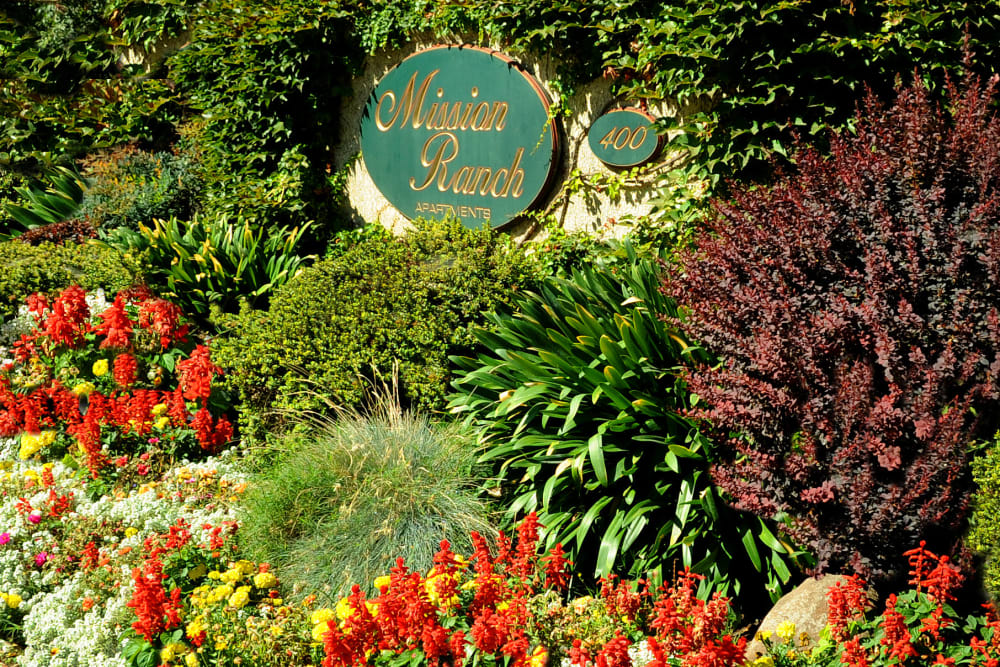 Welcome sign at Mission Ranch Apartments in Chico, California