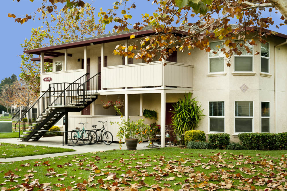 Front exterior view of the beautiful apartment style homes at Mission Ranch Apartments in Chico, California