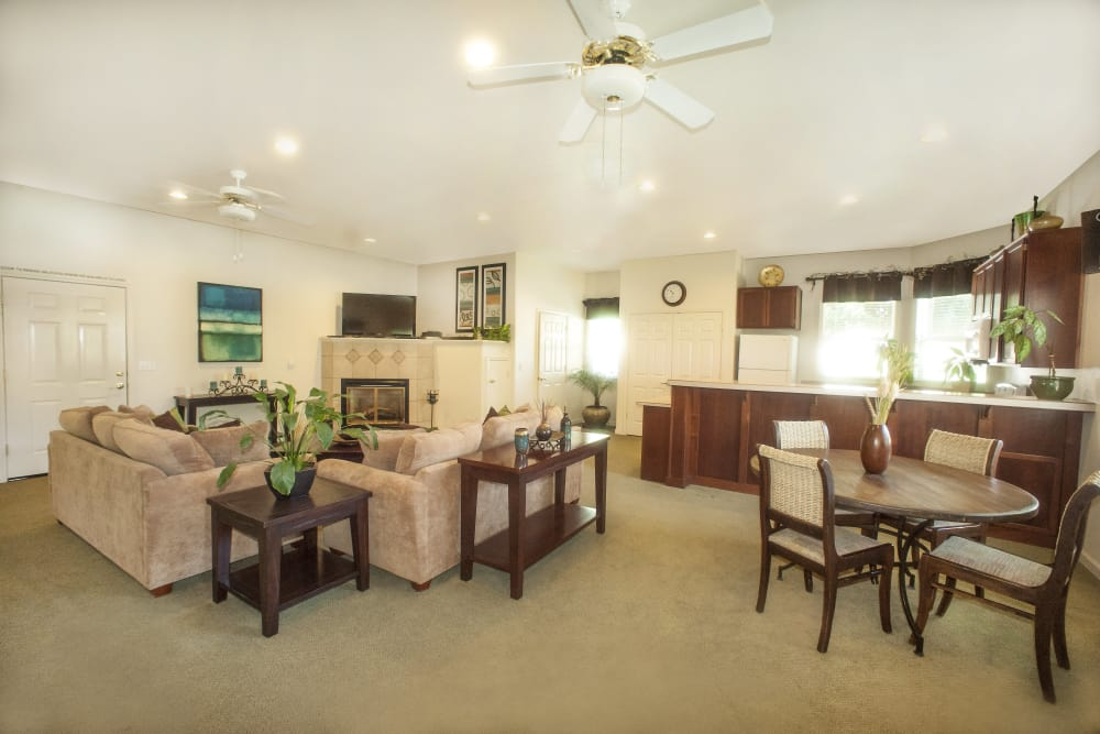 Spacious living area at Mission Ranch Apartments in Chico, California