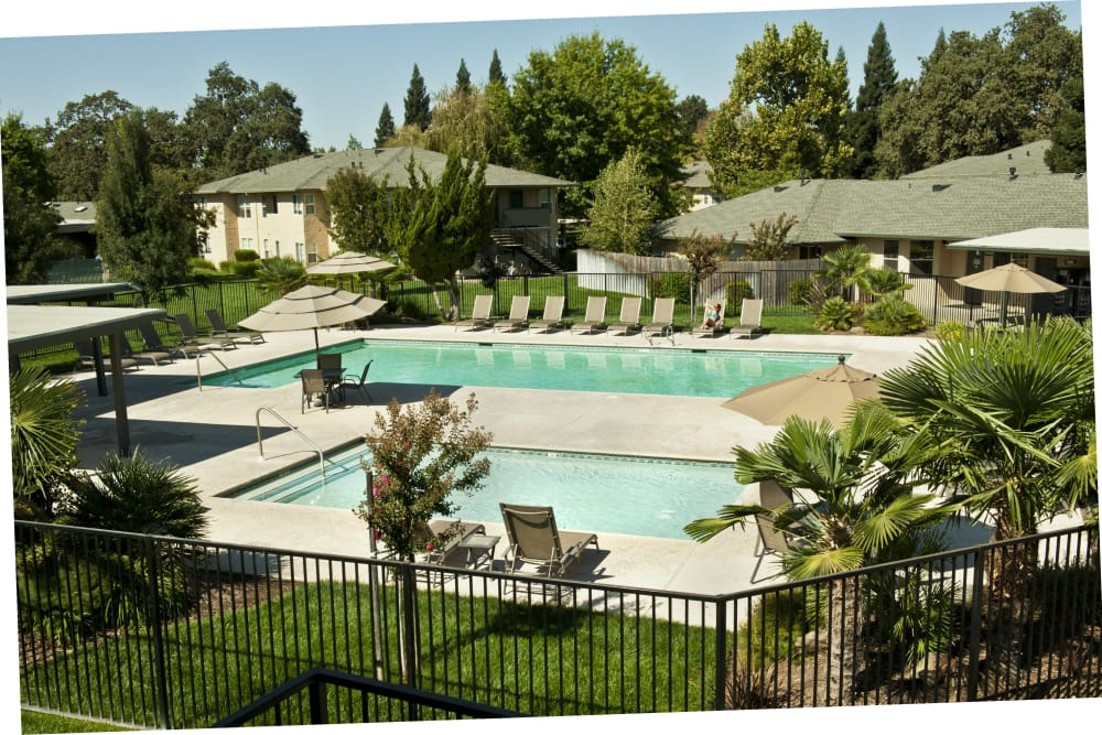 Sparkling swimming pool and spa at Oak Meadow Apartments in Chico, California
