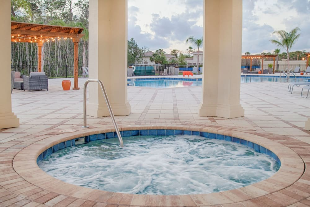 Bubbling jacuzzi at The Gate Apartments in Champions Gate, Florida