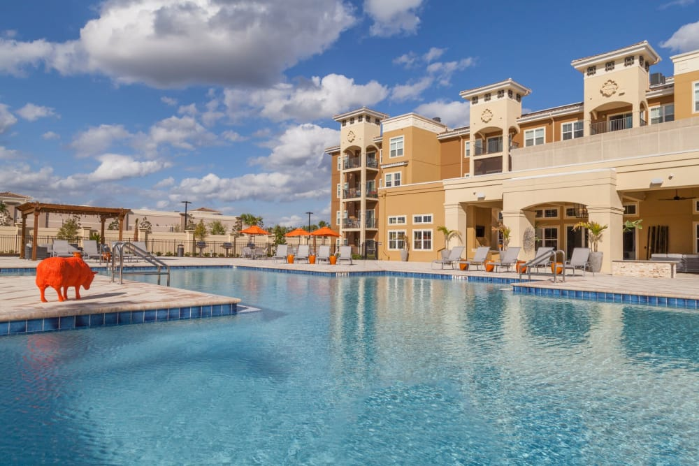 Beautiful blue pool at The Gate Apartments in Champions Gate, Florida
