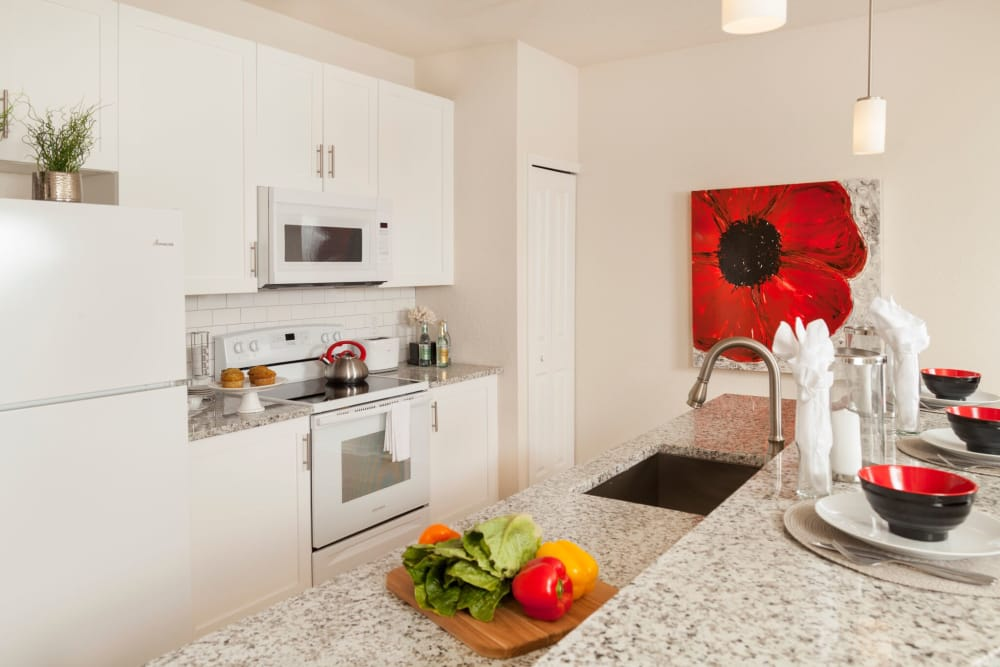 Kitchen layout at The Gate Apartments in Champions Gate, Florida