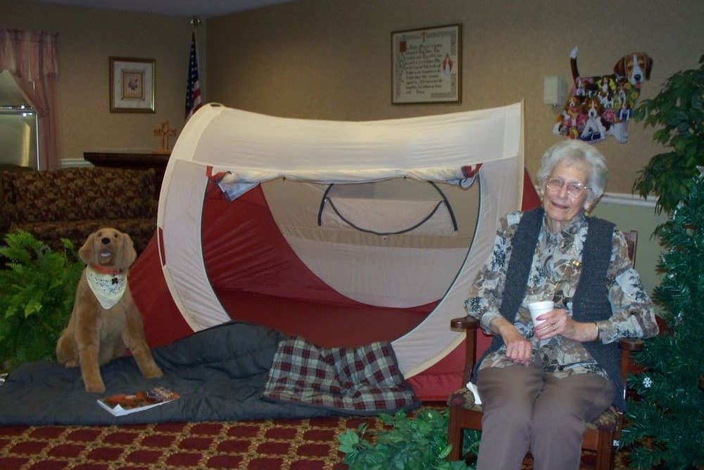 Resident camping indoors at Heritage Hill Senior Community in Weatherly, Pennsylvania
