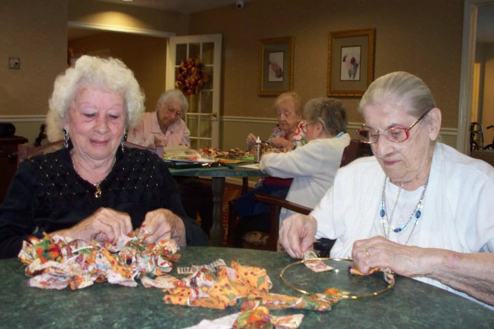 Residents working with ribbon at Heritage Hill Senior Community in Weatherly, Pennsylvania