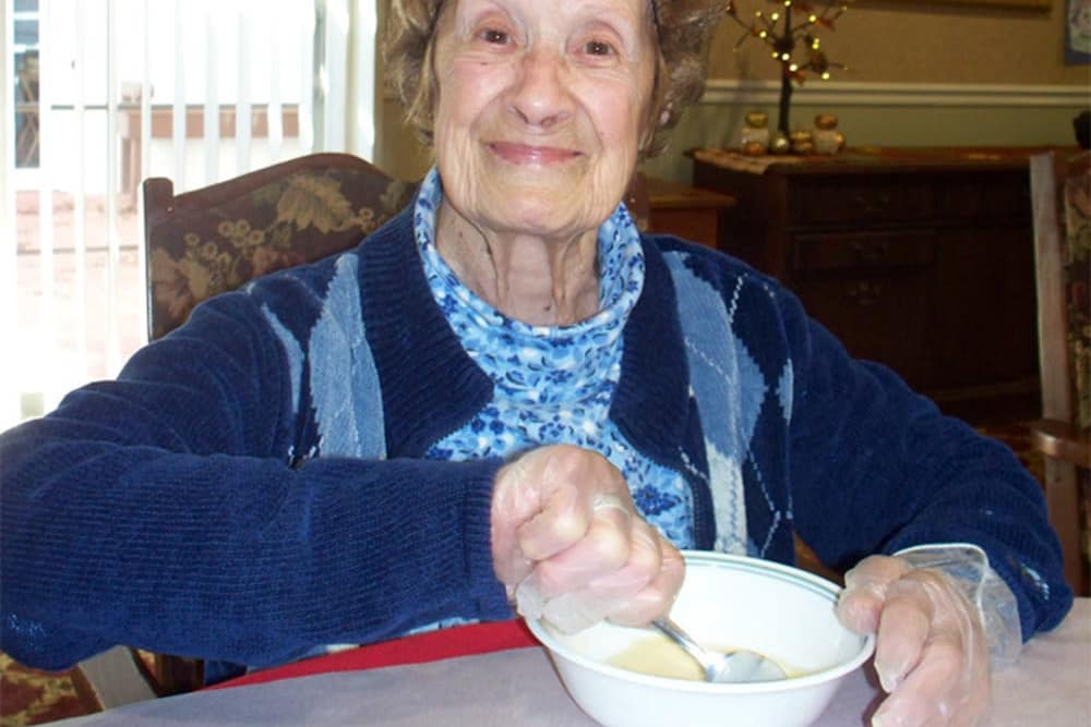 Resident from Heritage Hill Senior Community making something in Weatherly, Pennsylvania