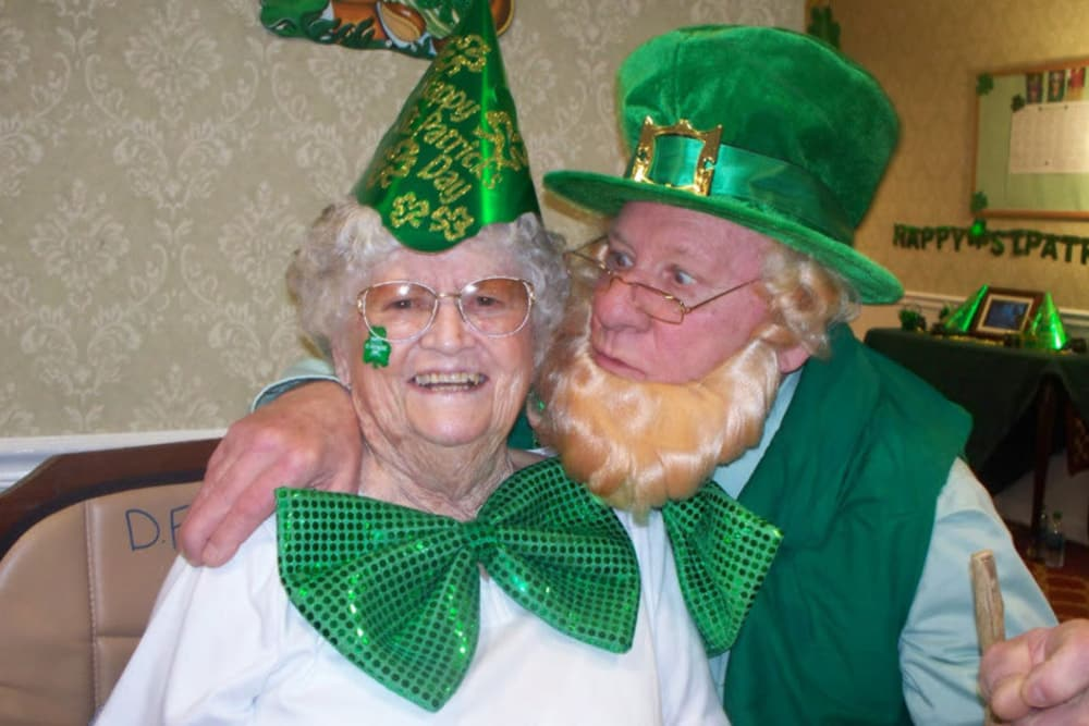 And another resident with the man dressed as a leprechaun at Heritage Hill Senior Community in Weatherly, Pennsylvania