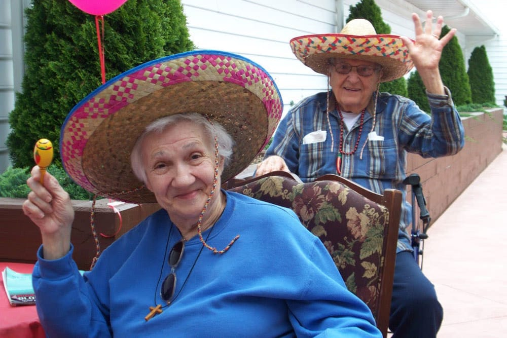 residents in sombreros at Heritage Hill Senior Community in Weatherly, Pennsylvania