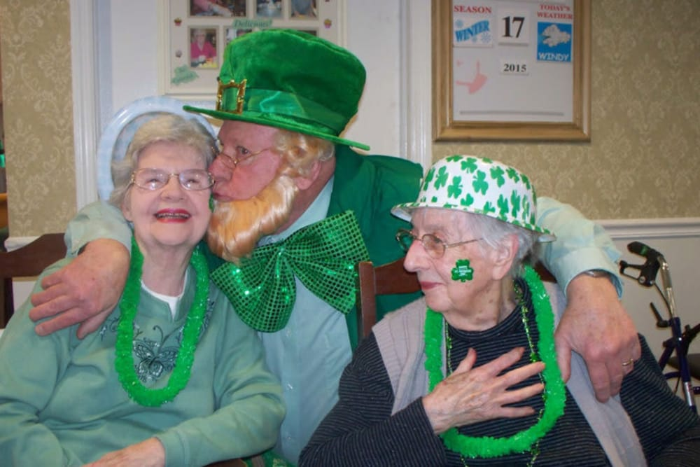 residents posing for a photo at a saint patricks day celebration at Heritage Hill Senior Community in Weatherly, Pennsylvania