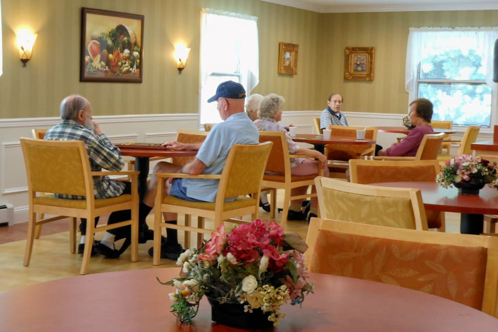 Residents having breakfast in the dining hall at Heritage Hill Senior Community in Weatherly, Pennsylvania