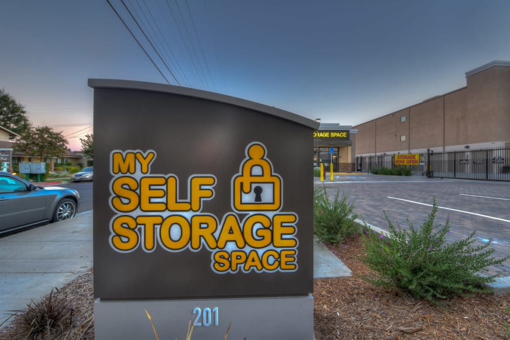 Welcome sign at My Self Storage Space in Fullerton, California