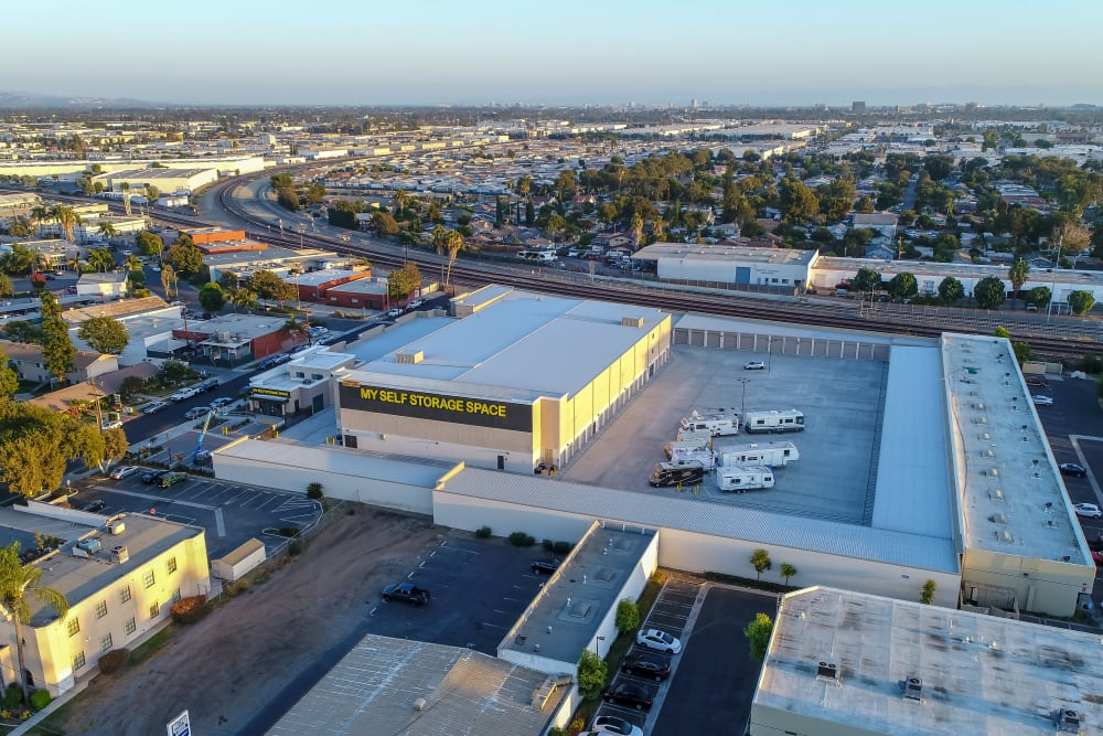 Aerial view of My Self Storage Space in Fullerton, California