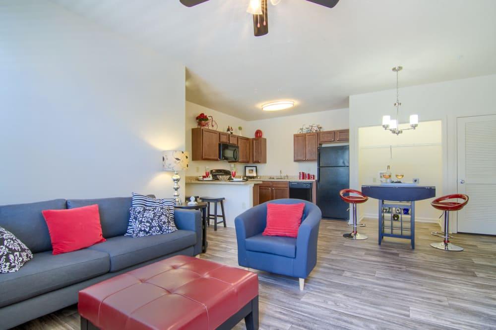 Beautiful living room at Woodside in Mobile, Alabama