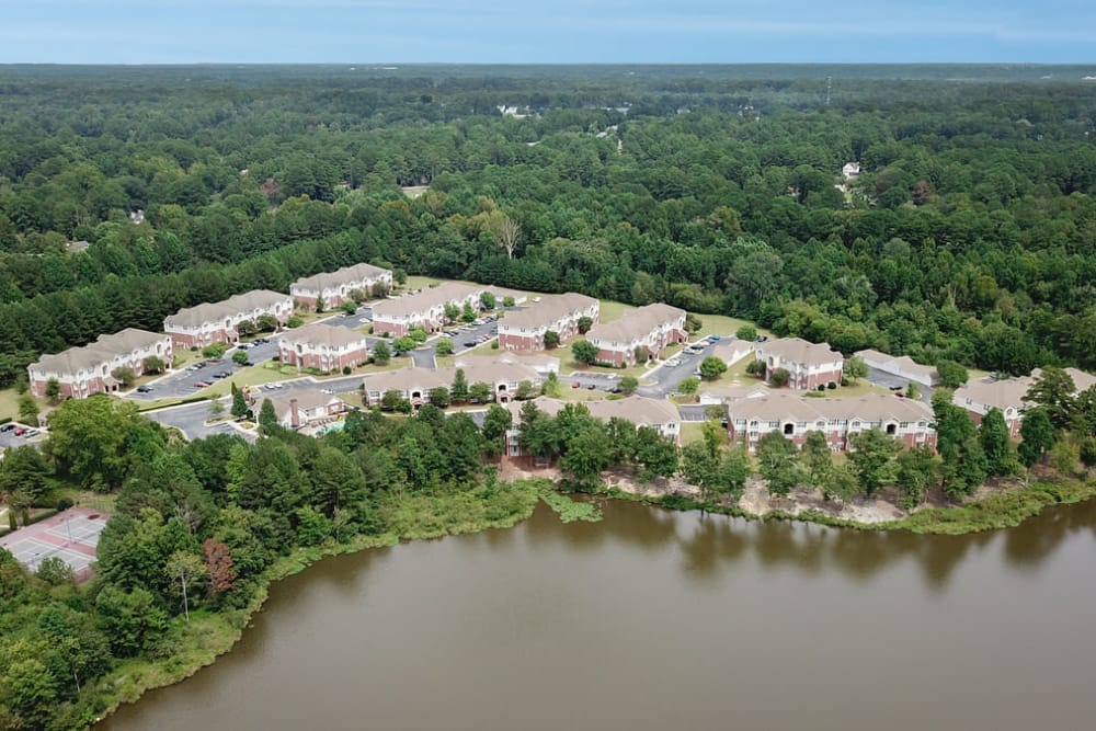 Aerial view at Villas by the Lake in Jonesboro, Georgia