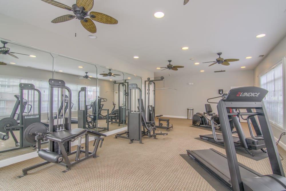 Fitness center at Villas by the Lake in Jonesboro, Georgia