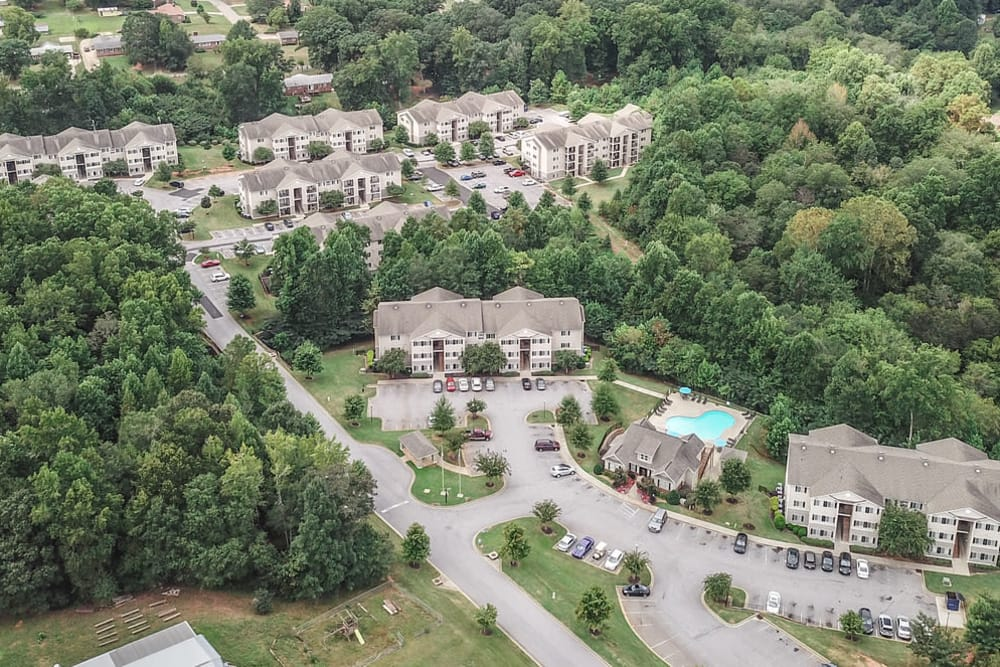 Aerial view of apartments at Villas at Lawson Creek in Boiling Springs, South Carolina