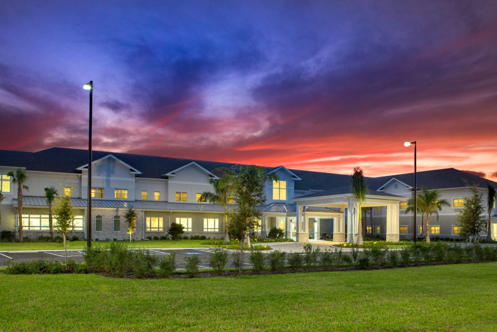 Dusk view of Heritage Oaks Assisted Living and Memory Care