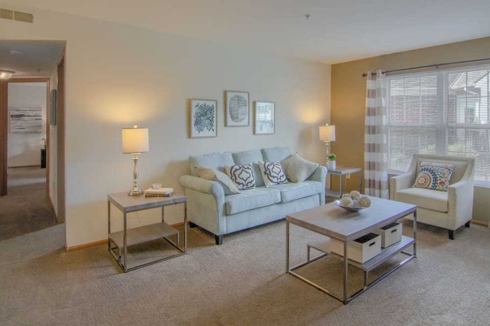 Luxury living room at Gateway Lakes Apartments in Grove City, Ohio
