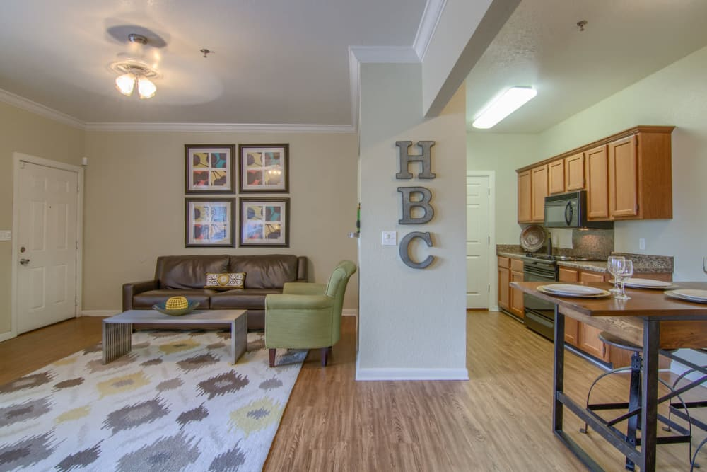Beautiful living room at Heights at Battle Creek in Broken Arrow, Oklahoma