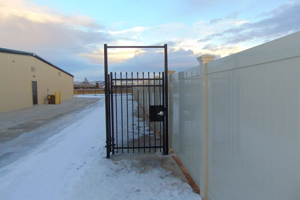 Gate entrance at Laramie Self Storage in Laramie, Wyoming